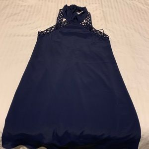 XS Navy blue halter dress, like new. Worn once!